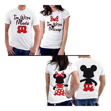 amazon com picontshirt mickey minnie two sided matching couple