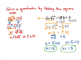 showme solving quadratic equations by taking square roots