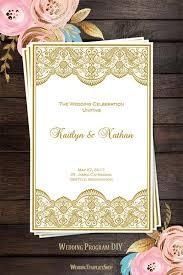 wedding programs diy templates wedding program template vintage lace gold wedding template shop