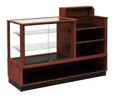 Retail Desk Contemporary Full Vision Combo Cash Wrap Display Smart Com