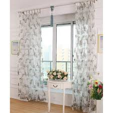 Patterned Sheer Curtains Gray Floral Patterned Gauze Sheer Curtains