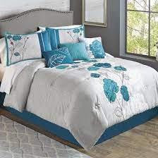 teal roses better homes and gardens 7 blooming teal roses comforter set