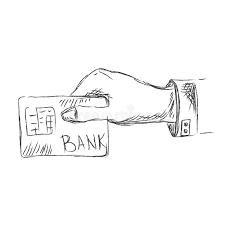 hand holding credit card sketch vector illustration stock