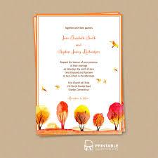watercolor autumn fall scene wedding invitation wedding