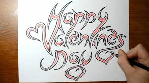 happy valentines day cool writing quick sketch youtube