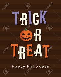 happy halloween card trick or treat logo title bones font