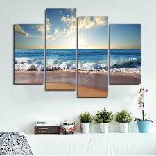 Modern Beach Living Room Modern Landscape Painting Canvas Wall Art Framed Ideas For Living