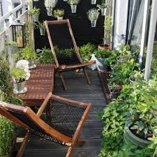 apartment porch balcony garden in evening bakers rack another