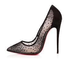 christian louboutin follies lace chiffon pumps womens in black