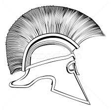 black and white ancient greek warrior helmet vector illustration