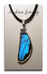 butterfly wing necklace images Stunning ulysses blue butterfly wing necklace jpg