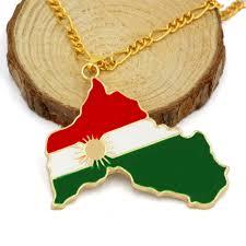 Kurdish Flag Kurdistan Gold Enamel Pendant Necklace Flag Region Map Kurdish