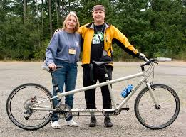 Blind And Deaf Woman Tandem Cycling At Lighthouse For The Blind Deaf Blind Retreat