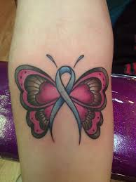 simple pink butterfly tattoo with cancer sign on calf