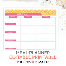 monthly menu planner template best and various templates design