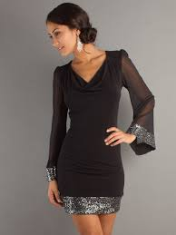 short draped sequin neck dress with sheer long sleeves with