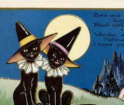 vintage halloween witch cats the graphics fairy