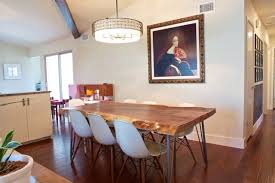 Maze Kitchen Table - live edge dining room table along with maze pattern area rug
