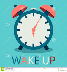 illustration of alarm clock in flat design with text stock vector
