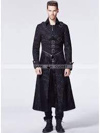 Long Trench Coats For Women Punk Rave Black Gothic Punk Breast Cross Long Trench Coat For Men