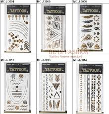 new waterproof flash tribal tattoos gold design terrible skull