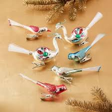 shiny brite bird ornaments set of 6 west elm