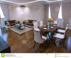 lounge with dining table in art deco design stock photo image