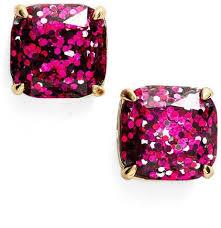 glitter stud earrings kate spade glitter stud earrings pink gifts popsugar fashion
