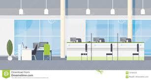 modern bank office interior workplace desk flat design stock