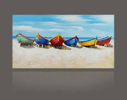 hand painted abstract color boat oil painting on canvas seascape
