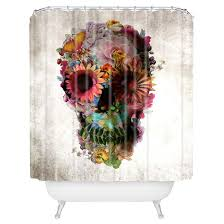 Skull Shower Curtain Hooks Ali Gulec Gardening Floral Skull Shower Curtain Yellow Deny