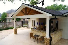 Patio Covers Houston Tx by Contemporary Patio Cover Kitchen And Firepit Texas Custom Patios