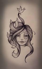 sugar skull drawing kate muir bird hair
