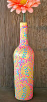 henna style decorative wine bottle vase sunshine by lucentjane