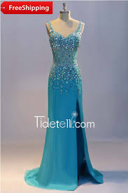 sparkly sheath v neck straps long satin prom dress with beads and