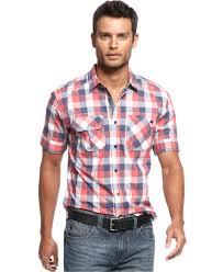 marc ecko cut u0026 sew shirt short sleeve plaid shirt mens casual