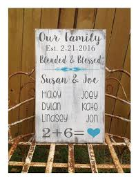 blended family gift second marriage sign family name board