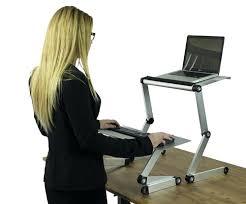 desk image of adjustable standing desk converter glass top