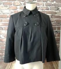 laundry design coat womens laundry by design black wool blend cropped pea coat jacket