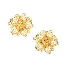 clip on earring satin gold dogwood flower clip earring kennethjaylane