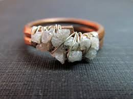 sterling gem rings images Raw uncut rough diamond cluster ring copper sterling silver w JPG