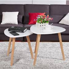 amazon com yaheetech white gloss wood nesting tables living room
