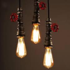 industrial pipe light fixture vintage l retro suspension luminaire industrial diy pipe lighting