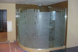 best curved glass shower doors behind the shower