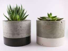paint dipped concrete planter pot black office design ideas