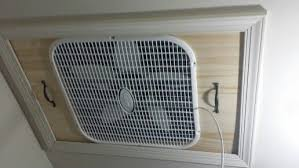 diy whole house fan integrated box fan into attic entrance alternative to commercial