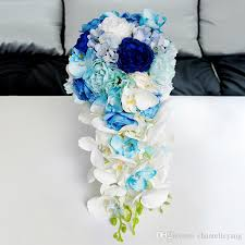 blue wedding bouquets new artificial waterfall royal blue wedding bouquets 2017 new