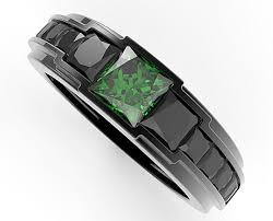 wedding bands for him and men s black gold emerald wedding band vidar jewelry unique