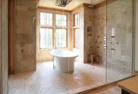 wet room w freestanding tub bathrooms pinterest interesting transitional wet rooms with cream marble tiling wall also modern shower head and mixer tap also small wooden stool also white and unique shape