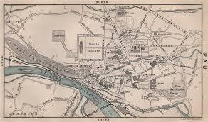 bureau vall pau pau antique town city plan de la ville pyr n es atlantiques 1885